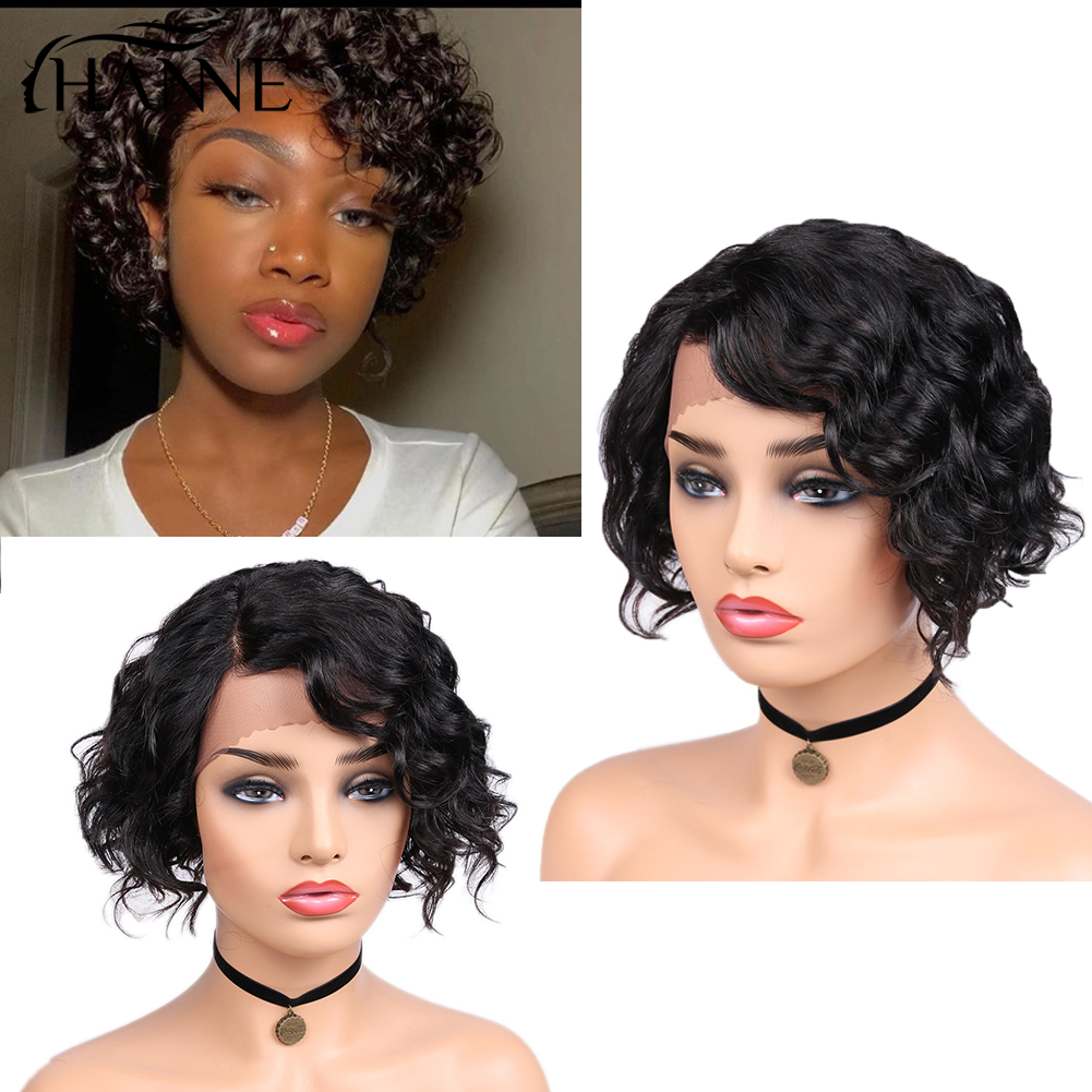 HANNE Lace Front Human Hair Wigs For Women Natural Black Pre Plucked 150% Density Natural Wave Brazilian Frontal Wig Side Part
