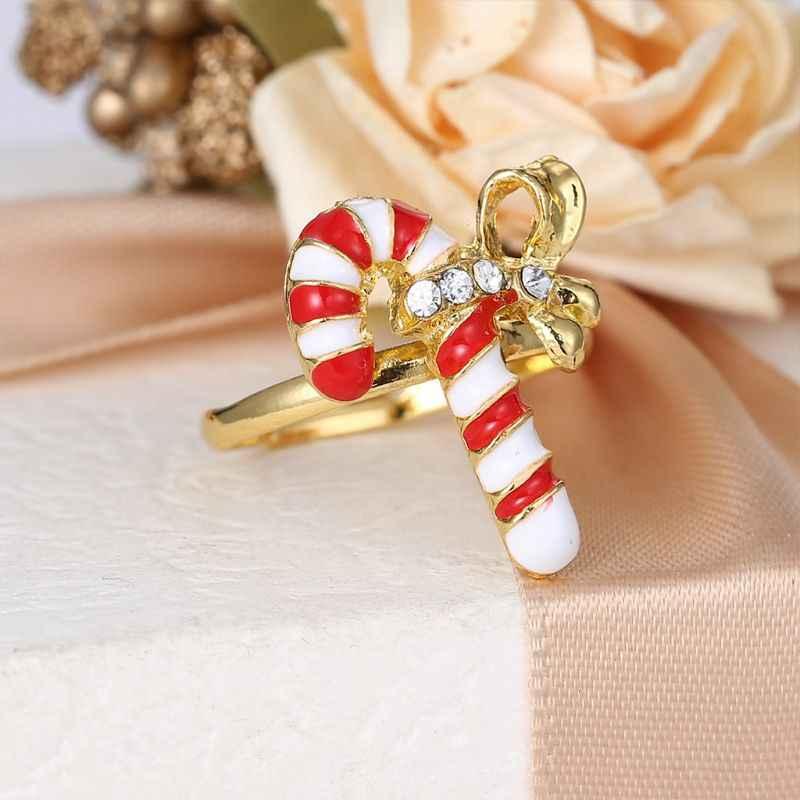 คริสต์มาสแหวนเคลือบการ์ตูนซานตาคลอส Xmas Tree รูปร่างน่ารักแหวนผู้หญิง