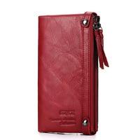 Leather Wallet Zipper Red Long Leather Money Bag Women Credit Card Holder Purse Bag Women Wallet