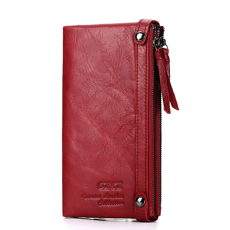 Leather Wallet Zipper Red Long Leather Money Bag Women Credit Card Holder Purse Bag Women Wallet title=