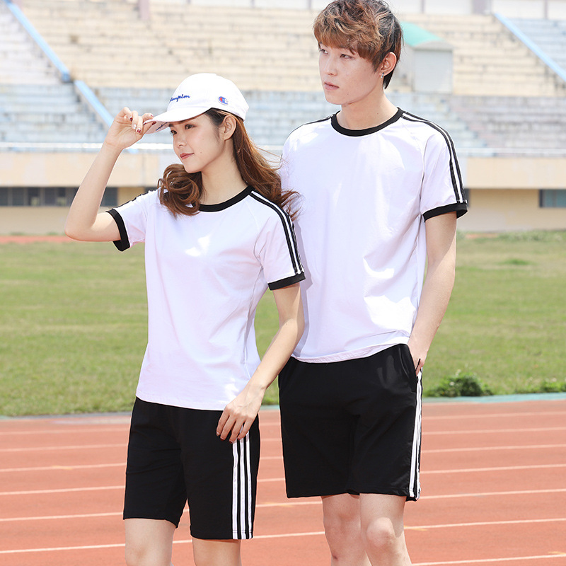 2019 Summer Men Cool Short Sleeve T-shirt Sports Set Men's Casual Handsome Two-Piece Set Korean-style Round Neck Sweater Fashion