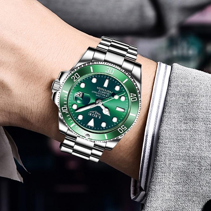 LIGE Top Brand Luxury Fashion Diver Watch Men 30ATM Waterproof Date Clock Sport Watches Mens Quartz Wristwatch Relogio Masculino 5