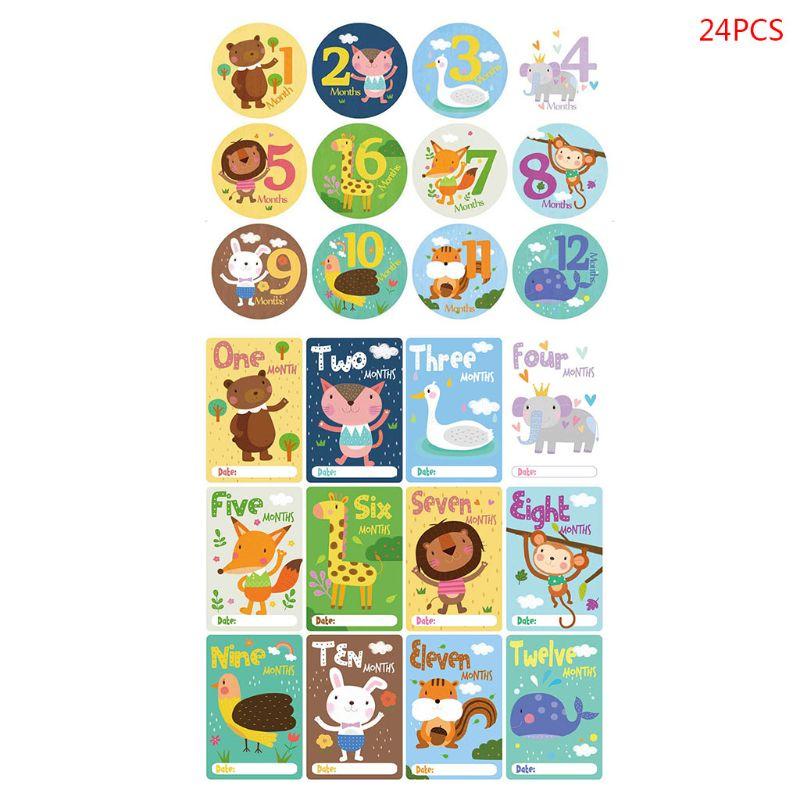 24 Pcs/set Cartoon Baby Monthly Sticker Card Newborn Milestone Photography Props