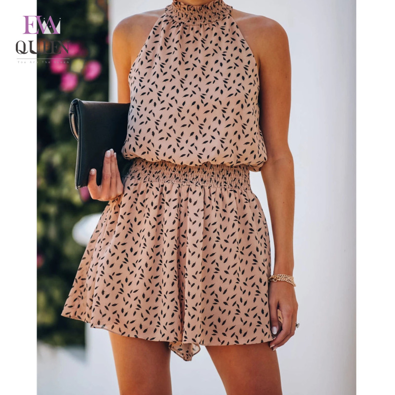 EvaQueen Print Halter Hollow Out Elegant Jumpsuits Women Stretch High Waist Loose Casual Rompers Summer Beach Party Playsuits
