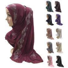 Mulheres muçulmanas strass árabe hijab cachecol islâmico longo xale cabeça envoltório shayla lenço grande cachecol capa completa chapéu de oração novo