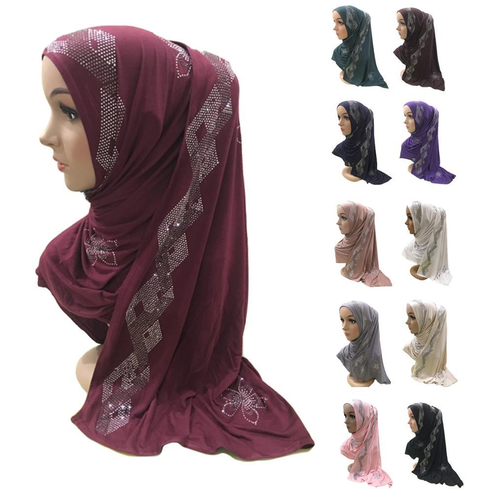 Muslim Women Rhinestone Arab Hijab Scarf Islamic Long Shawl Head Wrap Shayla Headscarf Large Scarves Full Cover Prayer Hat New