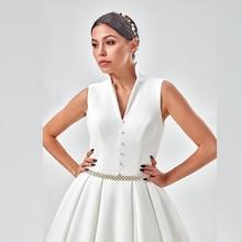 งาช้างแต่งงานกับกระเป๋า Vestido Noiva Elegant ซาตินแขนกุดชุดแต่งงานความยาวชุดเจ้าสาว 2020