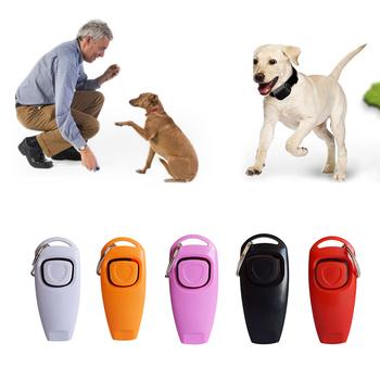 2 w 1 Dog Train Whistle szkolenie dla zwierząt urządzenie sprzęt dla zwierząt Clicker Key Ring trener pomoc przewodnik kliknij artykuły dla psów Puppy produkt tanie i dobre opinie Szkolenia Clickers CN (pochodzenie) Dog Training Clicker Whistle Z tworzywa sztucznego Dropshipping wholesale