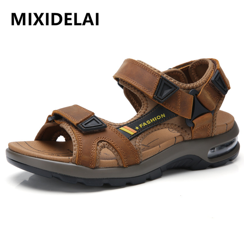 2020 New Fashion Men's Sandals Summer Soft Beach Flip Flop Comfortable Genuine Leather Sandals Outdoor Men Roman Sandals Size 46