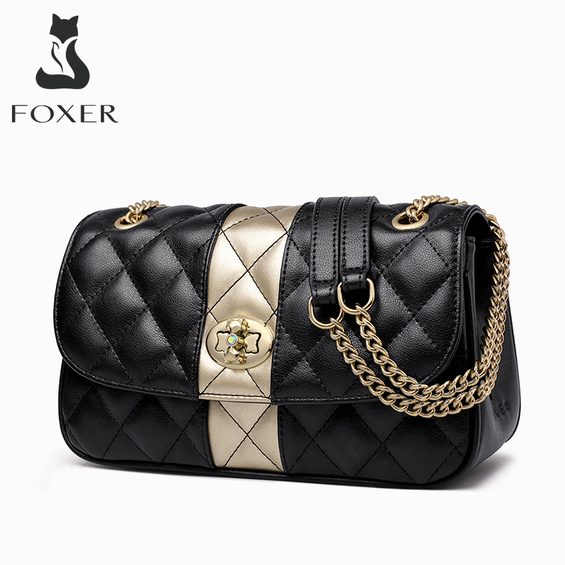 FOXER Women Chain Strap Messenger Bag Diamond Lattice Flap Lady High Quality Leather Ladies' Shoulder Bags Valentine's Day Gift|Shoulder Bags| - AliExpress