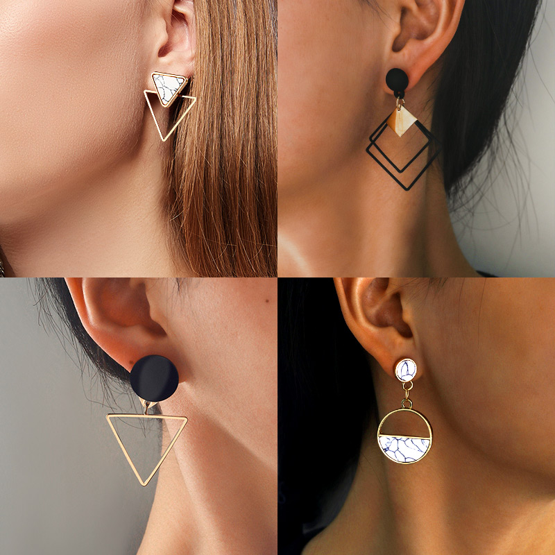 X&P New Fashion Round Dangle Drop Korean Earrings For Women Geometric Round Heart Gold Earring Wedding 2020 kolczyki Jewelry 1