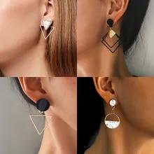 Korean Earrings Jewelry Geometric Dangle-Drop Heart Women New-Fashion for Round Gold