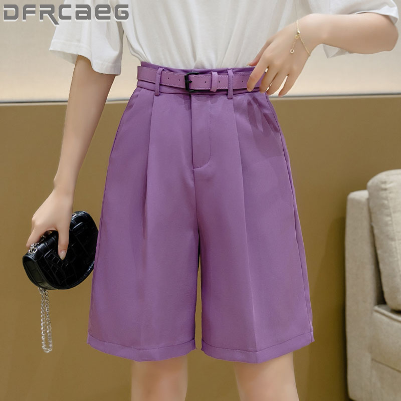 New 2020 Wide Leg Loose Bermuda Shorts For Women High Waist Purple Or Black Cotton Shorts Free Belt High Quality Bermuda Femme