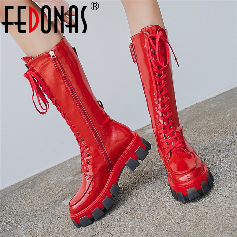 FEDONAS Punk Women Genuine Leather Knee High Boots Female Motorcycle Boots Night Club Shoes Woman Platform Boots Chunky Heels