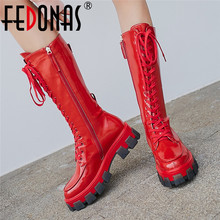 Platform Boots FEDONAS Chunky-Heels Shoes Woman Knee Female Genuine-Leather Women Punk
