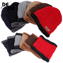 outdoor warm loose comfortable caps thickening plus velvet hat bib two-piece beaniesNew autumn and winter knitted mens hats