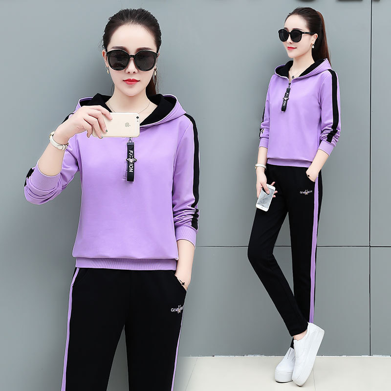 2019 Autumn New Style Korean-style WOMEN'S Wear Hooded Embroidered Casual Sports WOMEN'S Suit Two-Piece Set
