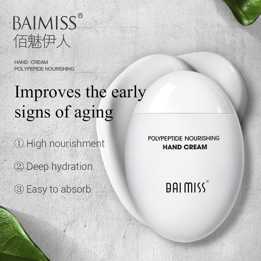 BAIMISS Peptide Moist Hand Cream Avocado Extract Nourishing Anti-Aging Hand Skin Care Cream Moisturizing Whitening Repair Hydra