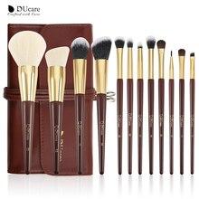 DUcare 12 sztuk zawód zestaw pędzli do makijażu Powder Highlighter makijaż oczu pędzle pędzel z włosia kozy wysokiej jakości z torbą