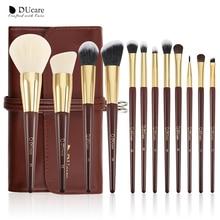 DUcare Juego de brochas de maquillaje profesional, 12 piezas, resaltador de polvo, brochas de maquillaje para ojos, brocha de pelo de cabra de alta calidad con bolsa