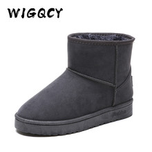 Large size 36-44 Cow-Suede Snow Boots Genuine Suede with merino Wool inner Elega