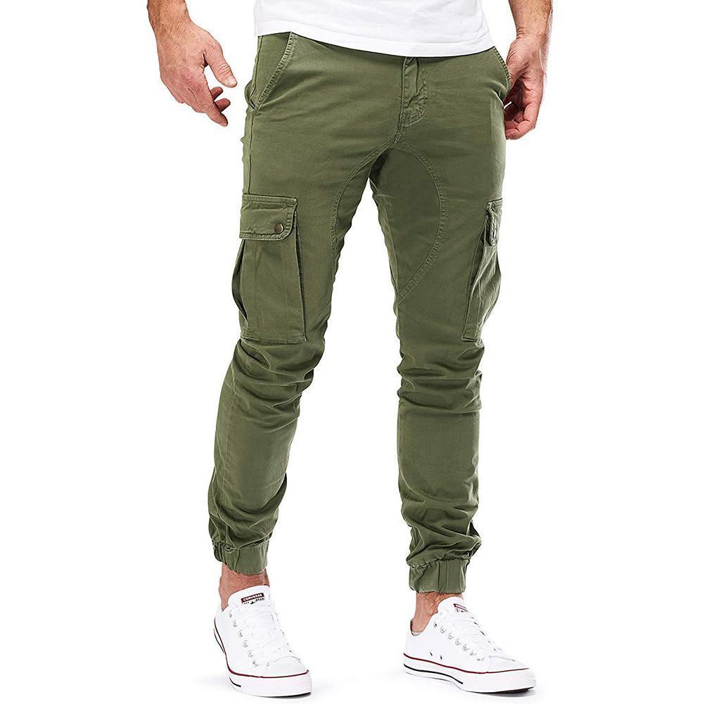 Брюки-карго мужские с эластичным поясом, модные повседневные облегающие длинные спортивные джинсы с несколькими карманами, рабочая одежда