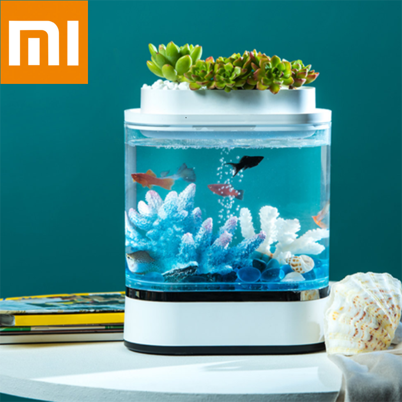 Xiaomi Mijia Geometry Mini Lazy Fish Tank USB Charging Self-cleaning Aquarium With 7 Colors LED Light Home Office Aquarium