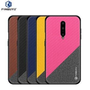 Image 1 - PINWUYO étui en cuir pour Oneplus 7 étui tresse Design tissu souple PC dur protection coque de téléphone OnePlus 7 Pro couverture