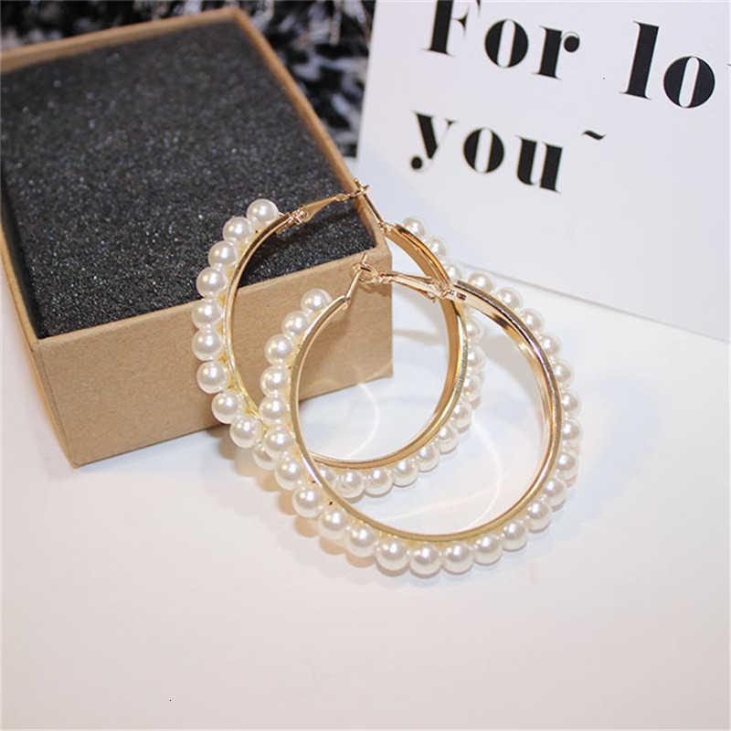 Ditiru Mutiara Anting-Anting untuk Wanita Fashion Perhiasan Laporan Emas Lingkaran Besar Menggantung Drop Anting-Anting Korea Pernikahan Telinga Aksesoris