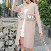 New Real Rabbit Fur Sequined Women Cardigans Long Sweaters Ladies Loose Knitted Sweater Winter Female Casual Tricot Jumper Coat