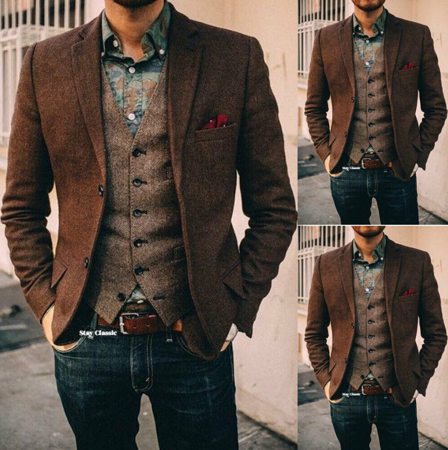 2020 Newest Two Piece Mens Suits Brown Herringbone Wool Vintage 1920's Suits Blazer With Vest For Men 2 Button