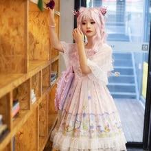 Sweet Lolita Victorian Dress JSK Fairy Kei Halloween Costume For Women Tea Party Outfit Sleeveless Pink Loli Skirt Plus Size alice sweet printed lolita jsk dress magic tea party