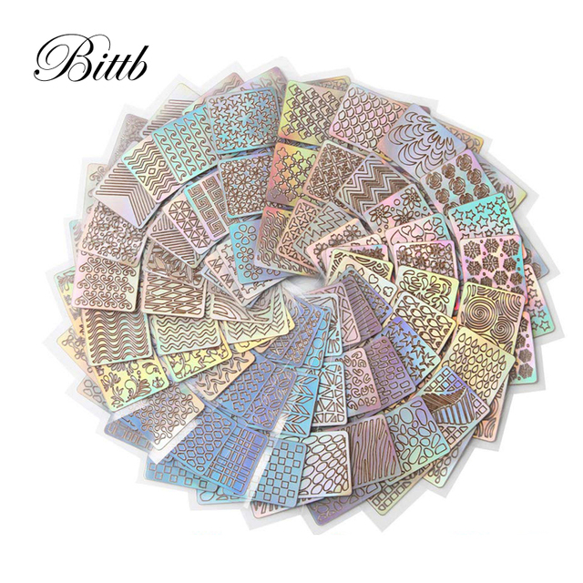 Bittb 24pcs Hollow Nail Stencil Sticker Holographic Nail Art Stickers DIY Design French Guides Tips Manicure Decoration Decal 1