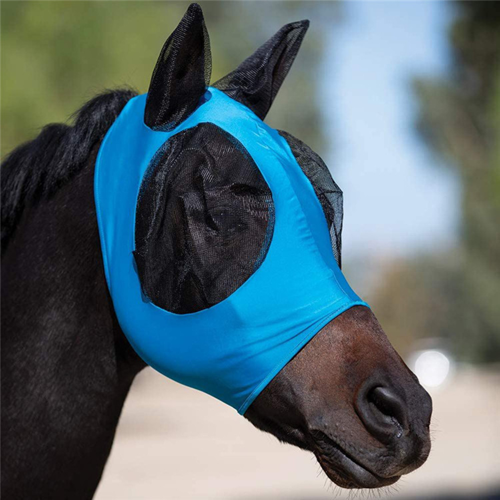 Breathable Anti-mosquito Lightweight Comfortable Horse Head Face Cover with Ear Mesh Horse Anti-Mosquito Mask Horse Head Cover