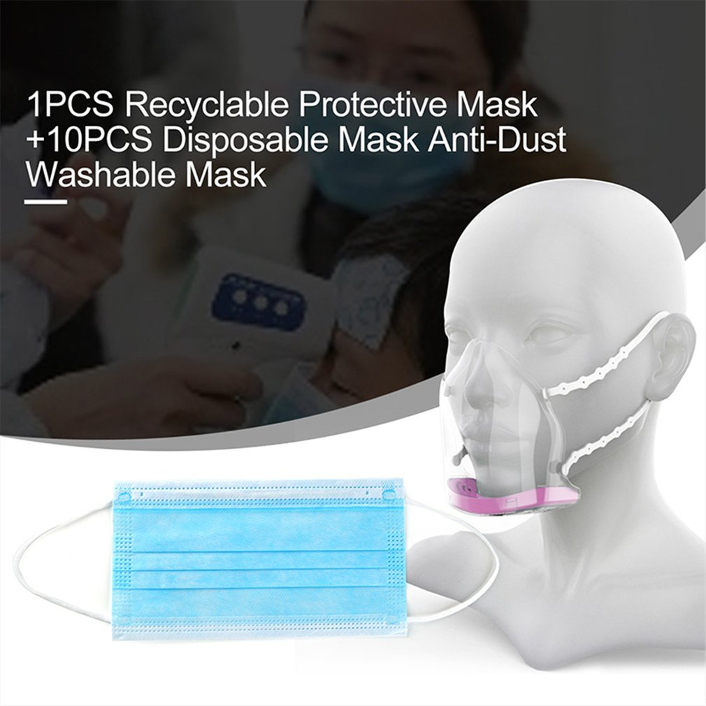 1pcs Recyclable Protective Mask + 10pcs Disposable Mask Anti Dust Masks Outdoor Efficient Washable Masks Safety Protective Suppl|Motorcycle Face Mask| |  - title=