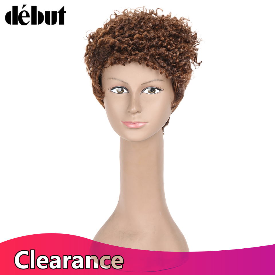Debut Fashion Ombre Mix Color Human Hair Wigs No Lace Brazilian Remy Hair Short Hair Wigs For Women Curly Pixie Wig