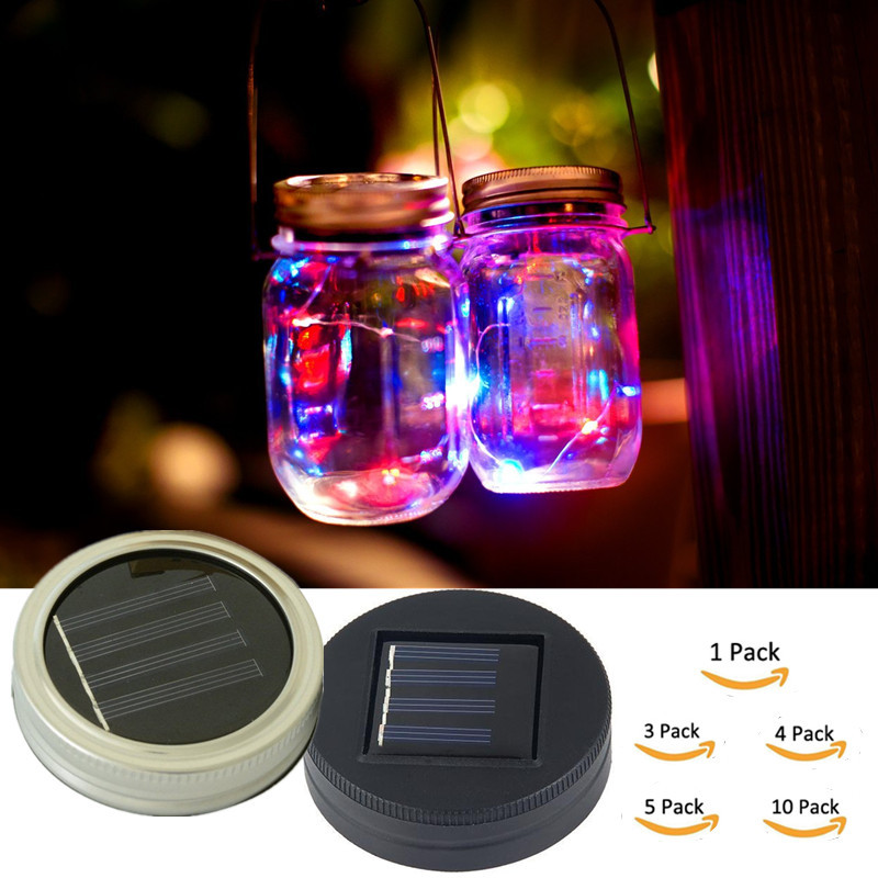 Holiday LED Fairy Light Solar Powered For Mason Jar Lid Insert Light LED Fairy String Wire Lamp Color Changing Garden Decor