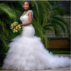 Image 1 - African Style Sequin Beading Mermaid Plus Size Wedding Dress for Black Girl Ruffles Tulle Bridal Gown