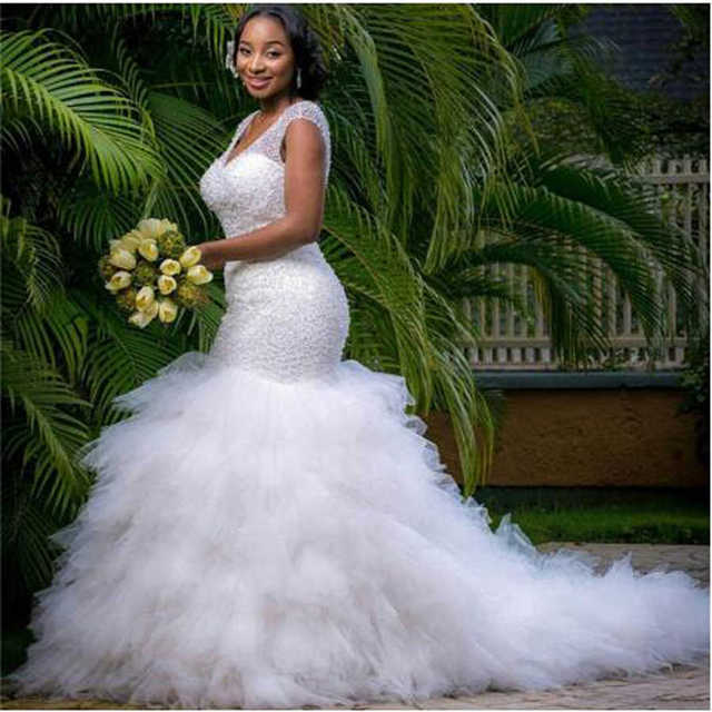 African Style Sequin Beading Mermaid Plus Size Wedding Dress for Black Girl Ruffles Tulle Bridal Gown