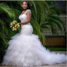 Stile africano Sequin Che Borda Della Sirena Plus Size Abito Da Sposa per il Nero Della Ragazza Delle Increspature di Tulle Abito Da Sposa