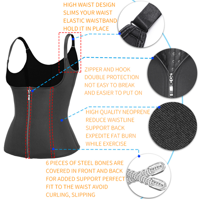 Body Shapes Neoprene Sauna Sweat Vest Waist Trainer Slimming Trimmer Fitness Corset Workout Thermo Modelling Strap Shapewear 4