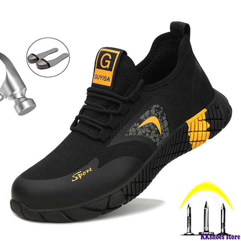 Hommes Acier Orteil Chaussures De Sécurité Baskets Travail Bottes Sports Randonnée Baskets UK 7-12