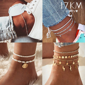 17KM Bohemian Crystal Shell Anklets for Women Colorful Stone Anklet Multilayer Foot Bracelet on Leg Beach Turtle Anklet Jewelry chic multilayer small bells anklet for women