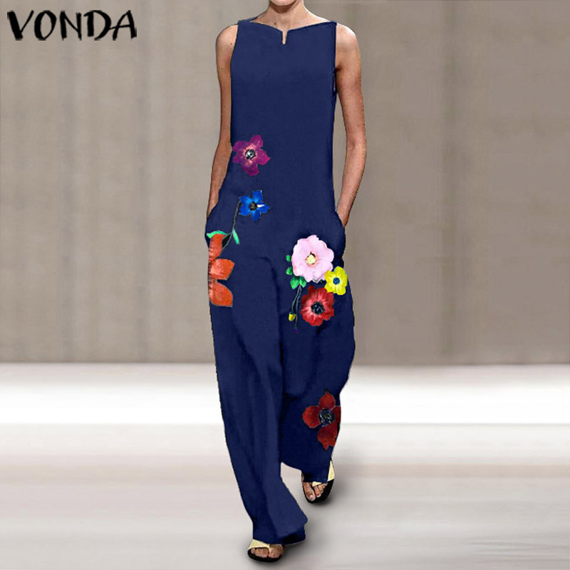 2020 VONDA Rompers Womens Jumpsuits Female Casual Wide Leg Pants OL Party Overalls Sexy V Neck Lapel Neck Print Playsuits 5XL