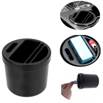 Auto Organizer Black Cup Cigarette Coin Card Holder Box Car Armrest Box Storage Box For KIA BMW Audi Mazda Ford image