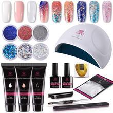 Makartt  16pcs Nail Extension Gel Starter Kit with Beautiful Glitter Powders, Hybrid Builder Gel, Dryer Tool