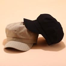 Cotton Beret Hats cap for women Fashion flat top hat Winter Autumn Vintage Octagonal hats Girls Solid Painter