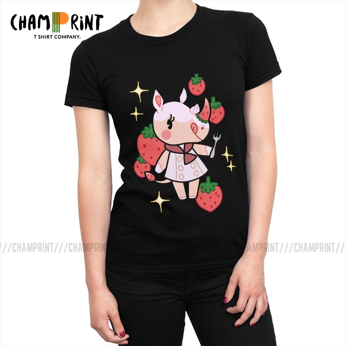 Merengue Of Animal Crossing T-shirts For Women T Shirts Vogue Tee Shirt Tops Funny Round Neck Cotton Female Clothes Plus Size