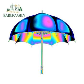 EARLFAMILY 13cm x 12.2cm for Color Psychedelic Umbrella Holographic Waterproof Surfboard Car Stickers Personality Trunk RV Decal image