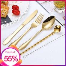Stainless Steel Flatware Cutlery Set Black Rainbow Gold Dinnerware kitchen Knife Fork Spoon for Work School Porable